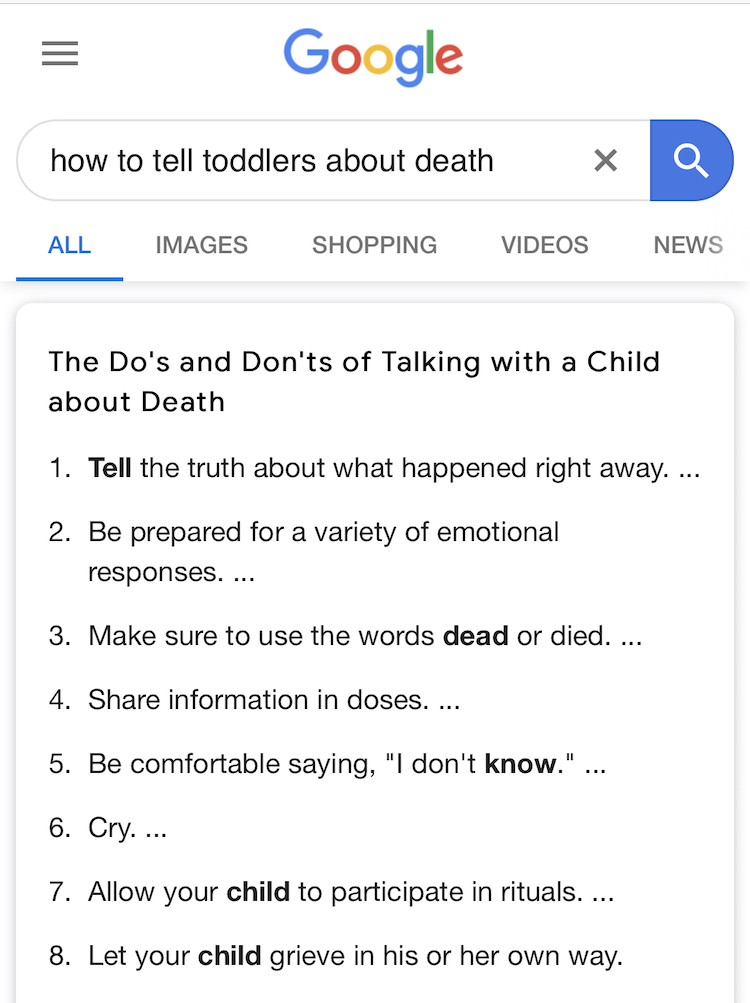 Google Search: How to tell toddlers about death